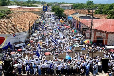 Hondurans protest against the unilateral meddling in their national affairs by Cowboy Socialist Obama