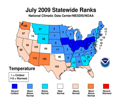 Record cold temperatures for July 2009