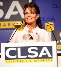 Sarah Palin giving a speech on economic policy