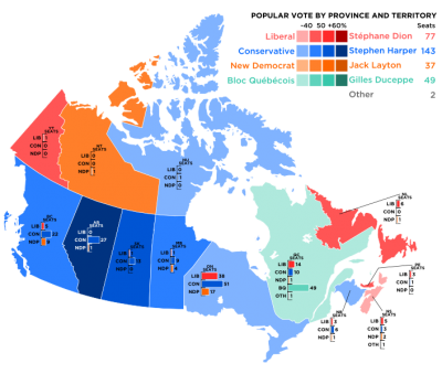 2008 Election Canada Provincial Map