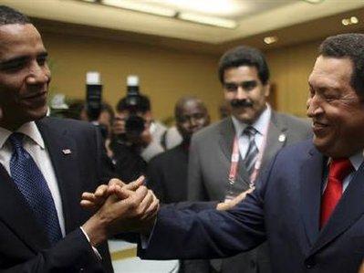 Two socialists shake hands: Barack Obama and Hugo Chavez