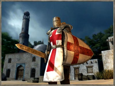 Crusader knight prepares for battle