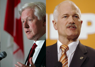 NDP leaders Bob Rae and Jack Layton