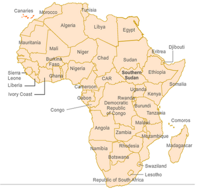 New Map of Africa including South Sudan