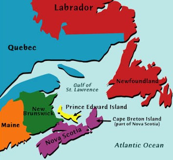 Map of Maritime Provinces in Canada