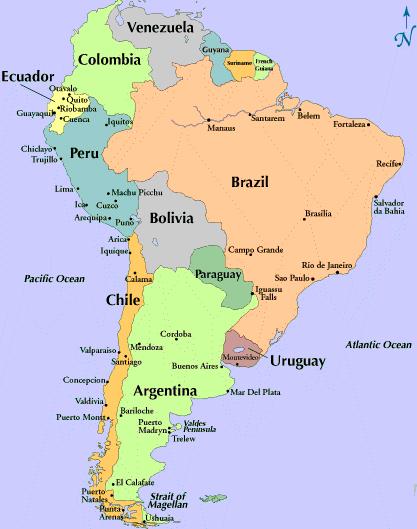 South America Spanish Map