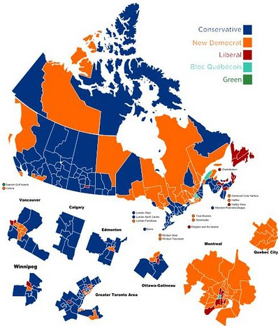 Canada election 2011: Conservatives in Blue, Socialists in Red, Communists in Orange