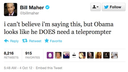 Bill Maher says Romney defeated Obama