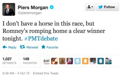 Piers Morgan says Romney defeated Obama