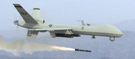 Predator UAV drone firing missile