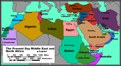 North Africa and Middle East Political Map