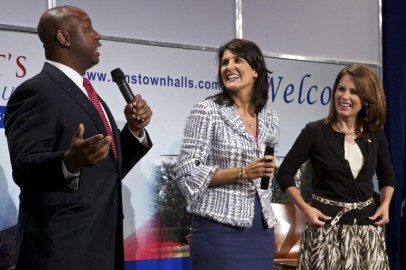 Tim Scott with fellow Tea Party members Nikki Haley and Michele Bachmann