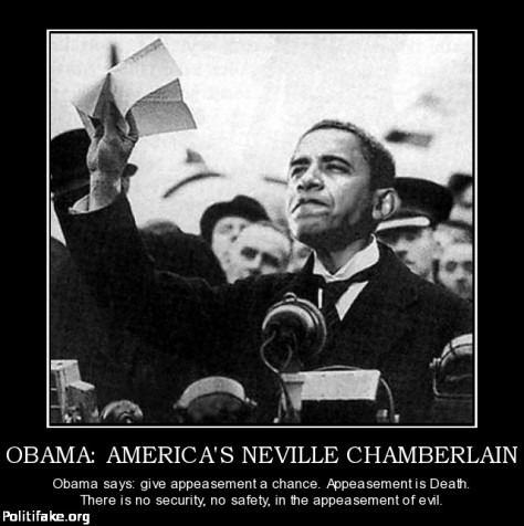Neville Chamberlain Obama: peace in our time