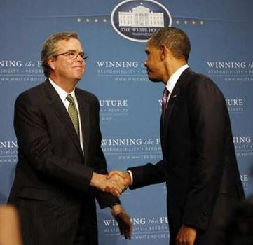 Jeb Bush and Barack Obama
