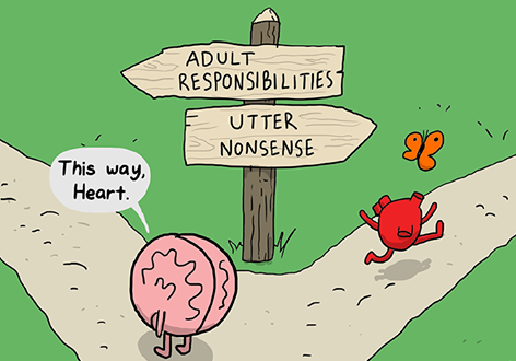 Brain vs Heart, from: theawkwardyeti.com