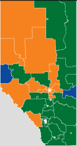 Orange = NDP, Green = Wildrose, Blue = Conservative