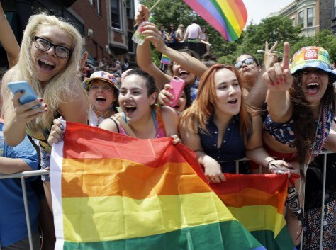 Young, unmarried women celebrate gay pride