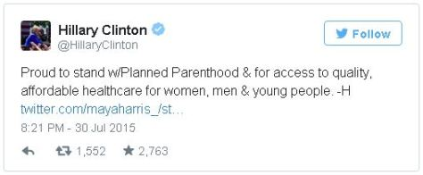 Hillary Clinton loves Planned Parenthood