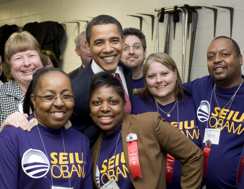 Obama with some of his supporters from a labor union