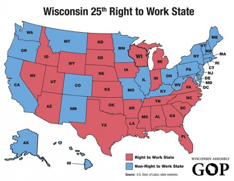 Right To Work States As Of March 2015