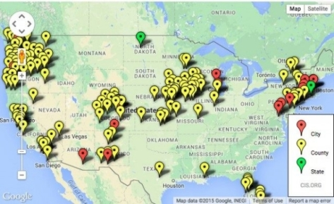 Map of sanctuary cities