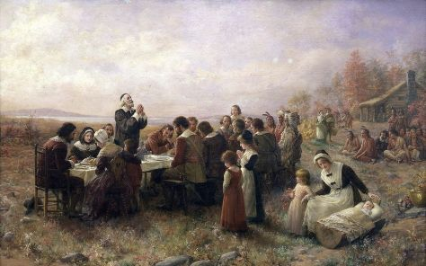 """The First Thanksgiving at Plymouth"" by Jennie Augusta Brownscombe (1914)"