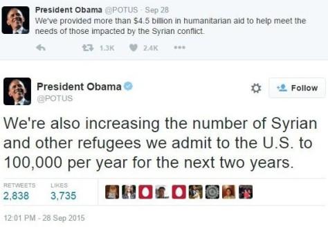 Obama says let in 200,00 Syrian refugees