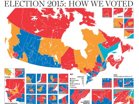 Canada Election 2015: Socialists in red, Communists in Orange, Conservatives in blue