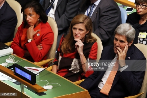 Secretary of State John Kerry, United States Ambassador to the United Nations Samantha Power (center) and United States National Security Advisor Susan Rice