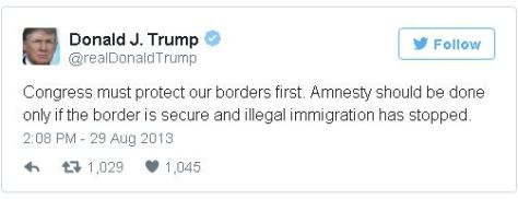 Donald Trump tweets about illegal immigration, circa August 2013