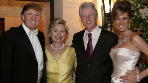Donald Trump with his buddies, the Clintons - I think that's Trump's third wife on the right