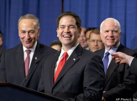 Marco Rubio with his allies: Democrat Chuck Schumer and RINO John McCain