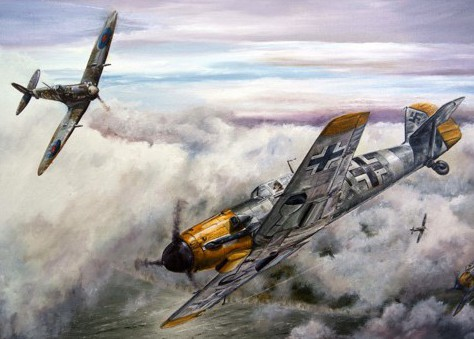 British Spitfire and German Messerschmitt Me 109 locked in a dogfight