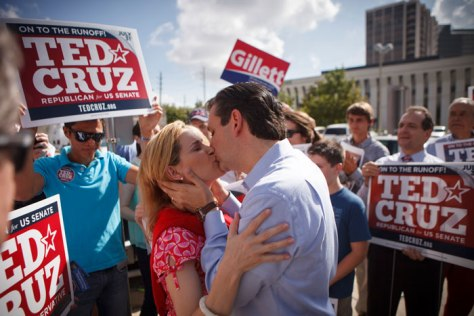How to get kissed: Heidi Cruz helping her husband