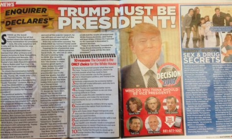 "National Enquirer: ""Trump Must Be President"", and Rubio has sex and drug secrets"