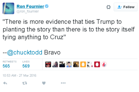 "Ron Fournier of National Journal re-tweets Chuch Todd and says ""Bravo"""