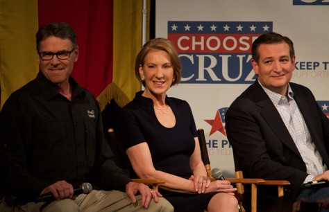 Rick Perry, Carly Fiorina and Ted Cruz appear on Fox News with Sean Hannity