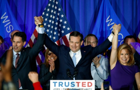 Wisconsin Governor Scott Walker, Texas Senator Ted Cruz, and Heidi Cruz