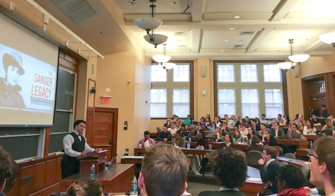More than 160 students attended a Harvard University forum featuring Ryan Bomberger