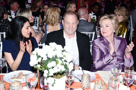 Huma Abedin (left), Harvey Weinstein (center), Hillary Clinton (right)