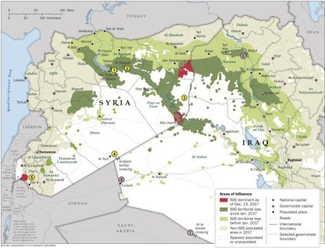 Islamic State operates in the red areas now, green = retreats