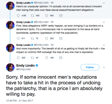 Emily Lindin, a mainstreatm writer with a degree in music history, tweets her hatred of men