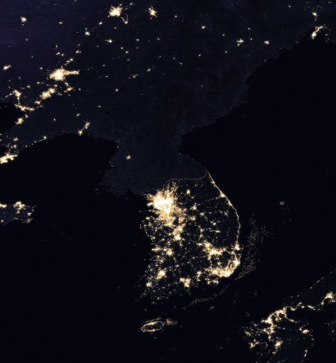 Atheism in action: a satellite photo of North Korea at night