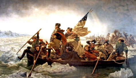 Washington crosses the Delaware river before the Battle of Trenton