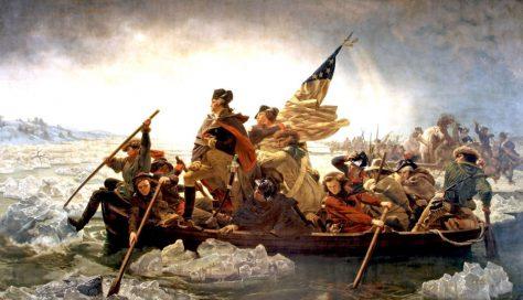 Washington crosses the Delaware river before the Battle of Trenton