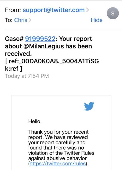 And here is how Twitter responded to the death threat