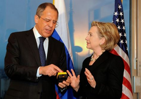 "Secretary of State Hillary Rodham Clinton presents Russian Foreign Minister Sergey Lavrov with a ""reset button"""
