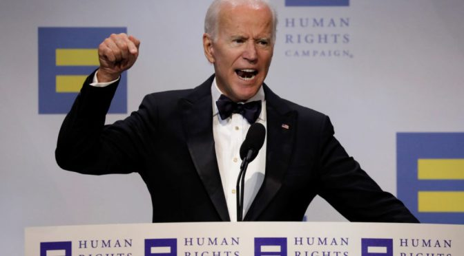 Biden howling hate at Christians for the Human Rights Campaign