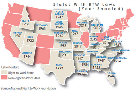 Map of states showing adoption of right-to-work laws