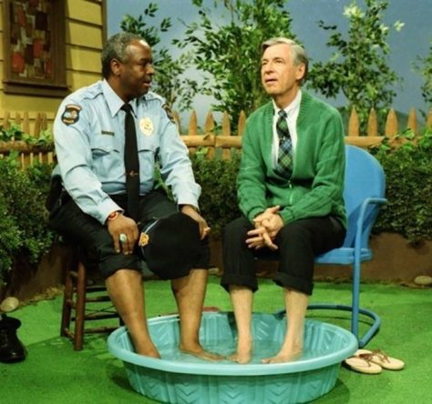 Fred Rogers and Francois Clemmons on the Mr. Rogers show